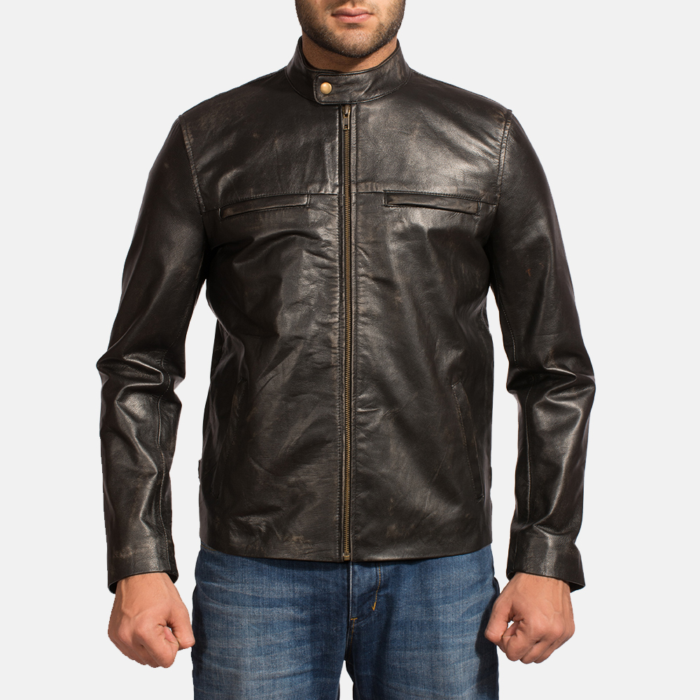Mens Liberty Black Leather Biker Jacket