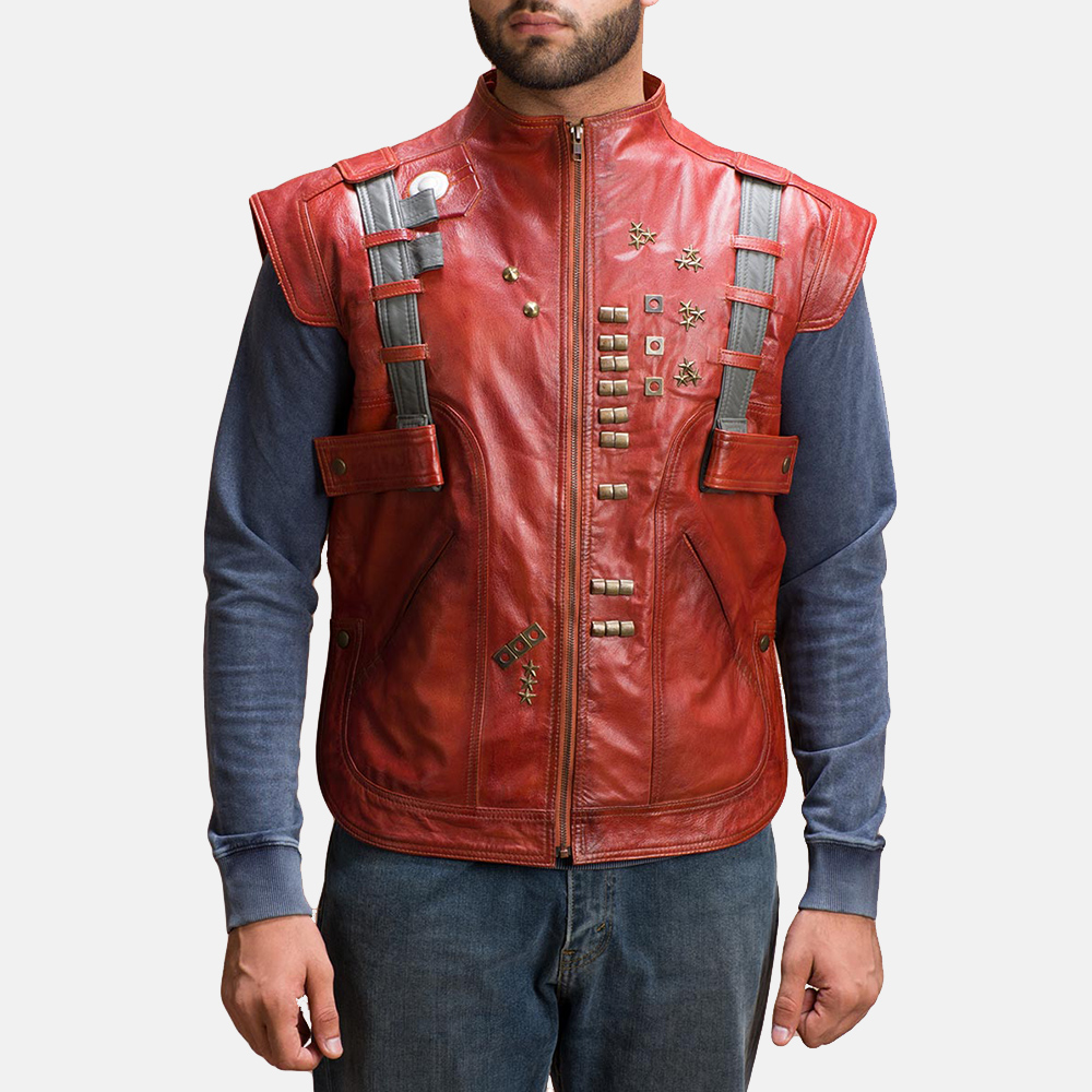Mens Mars Maroon Leather  Vest 2