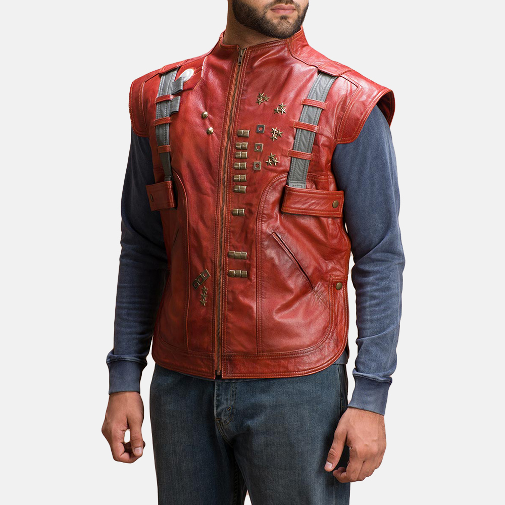 Mens Mars Maroon Leather  Vest 3