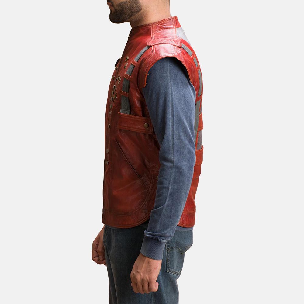 Mens Mars Maroon Leather  Vest 4