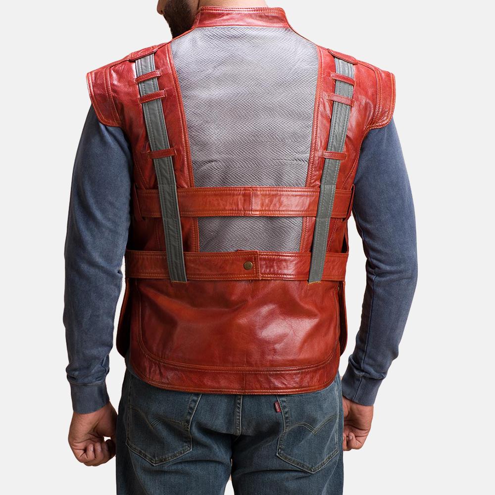 Mens Mars Maroon Leather  Vest 5