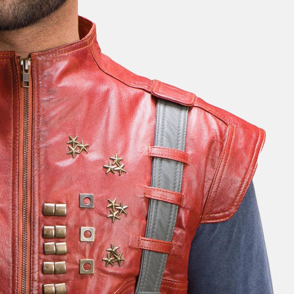 Mens Mars Maroon Leather  Vest 6