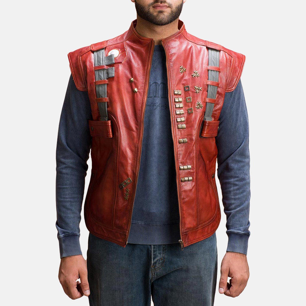 Mens Mars Maroon Leather  Vest 1