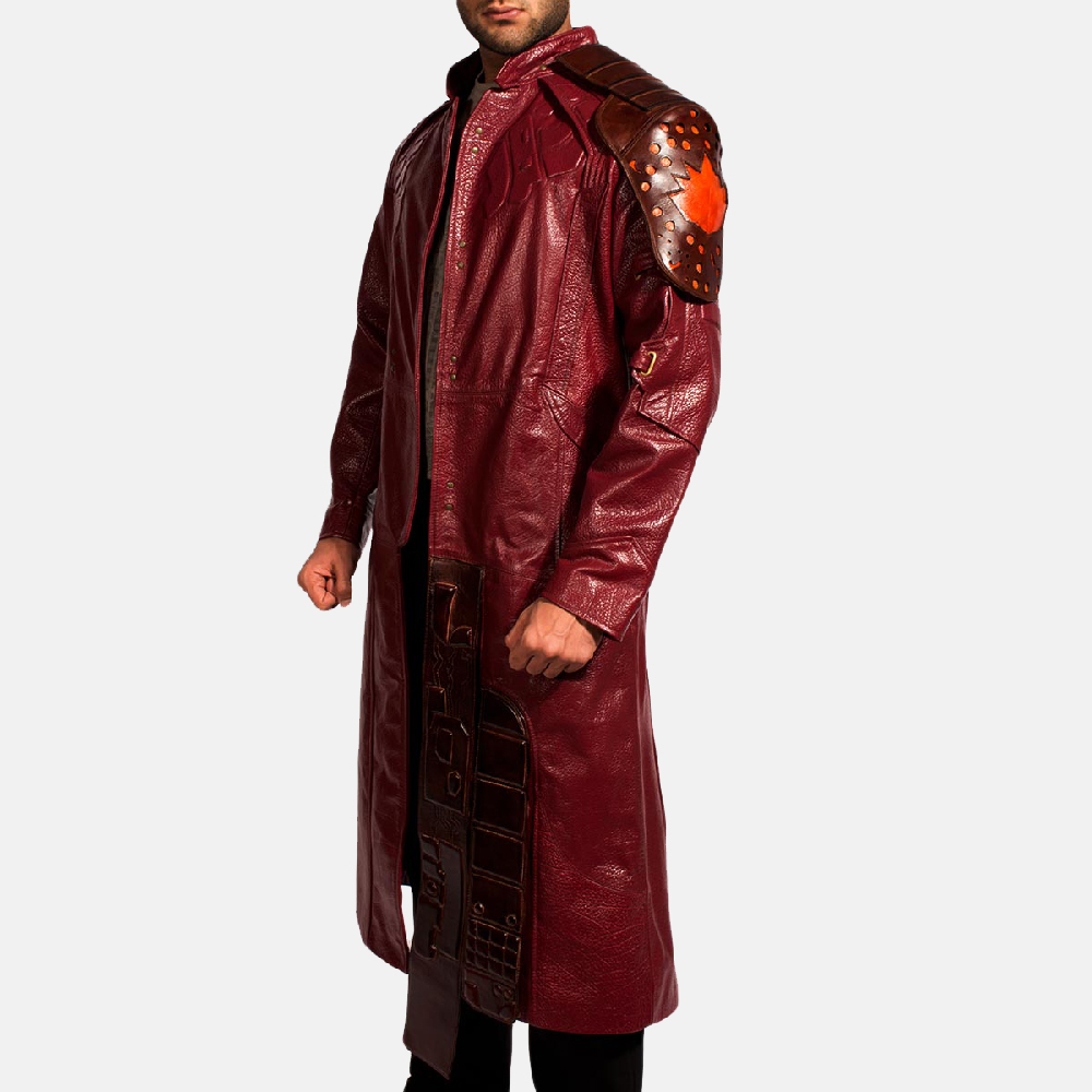 Mens Mars Maroon Leather Coat 3