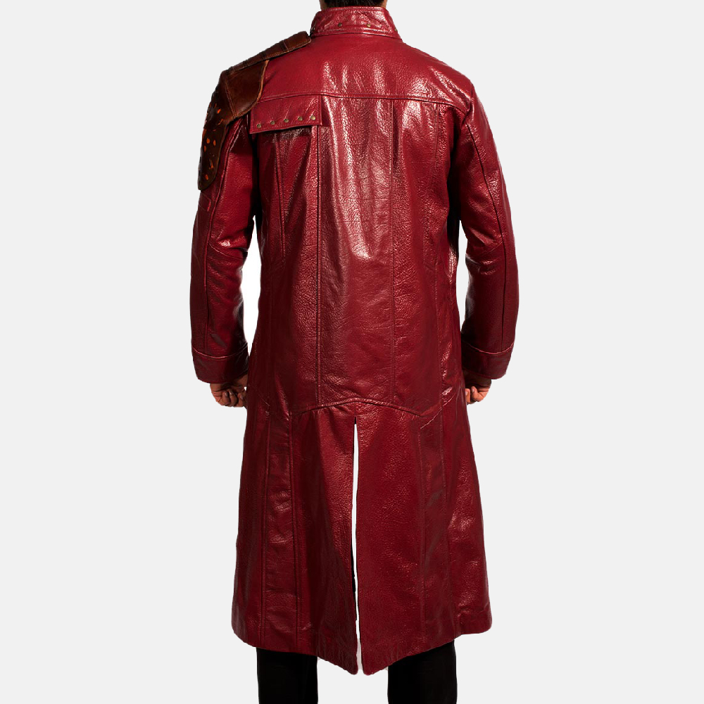 Mens Mars Maroon Leather Coat 5