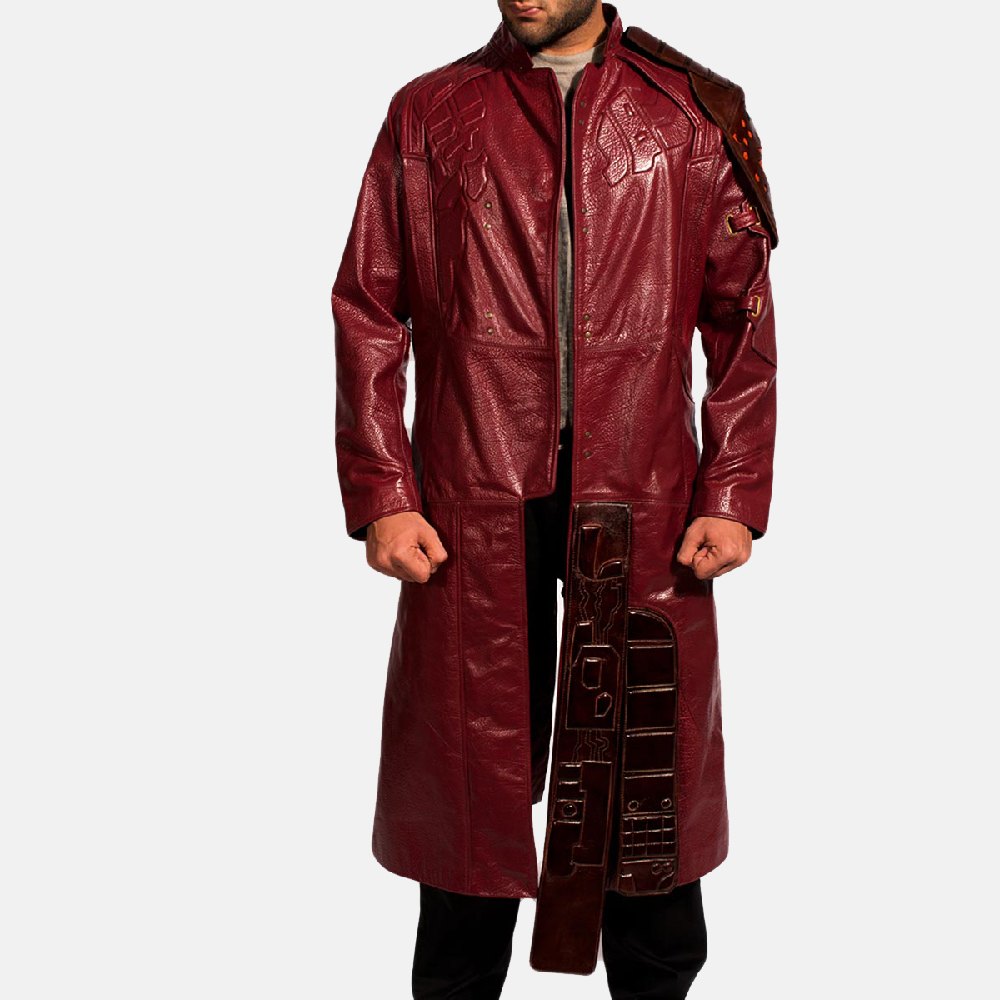 Mens Mars Maroon Leather Coat 1