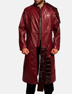 Mens Mars Maroon Leather Coat