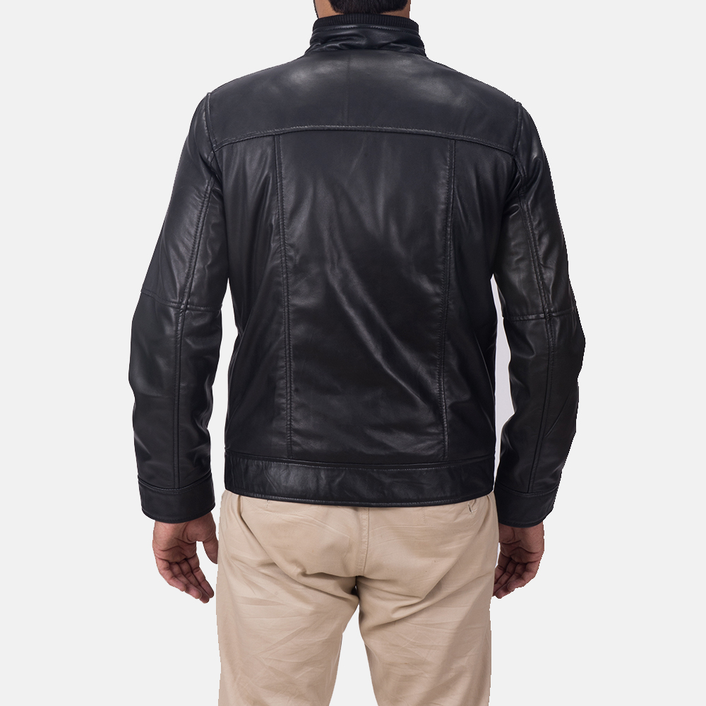 Mens Maurice Black Leather Jacket 6