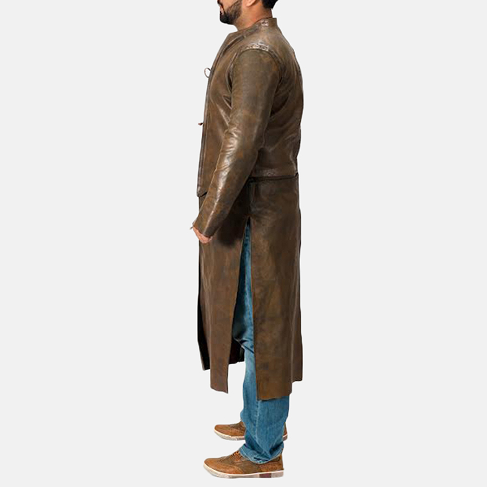 Mens Medieval Brown Leather Coat 3