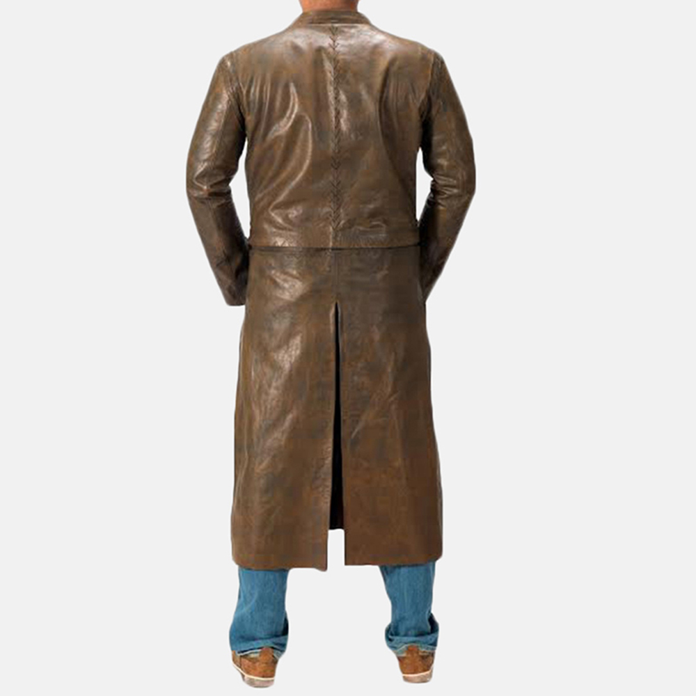 Mens Medieval Brown Leather Coat 4