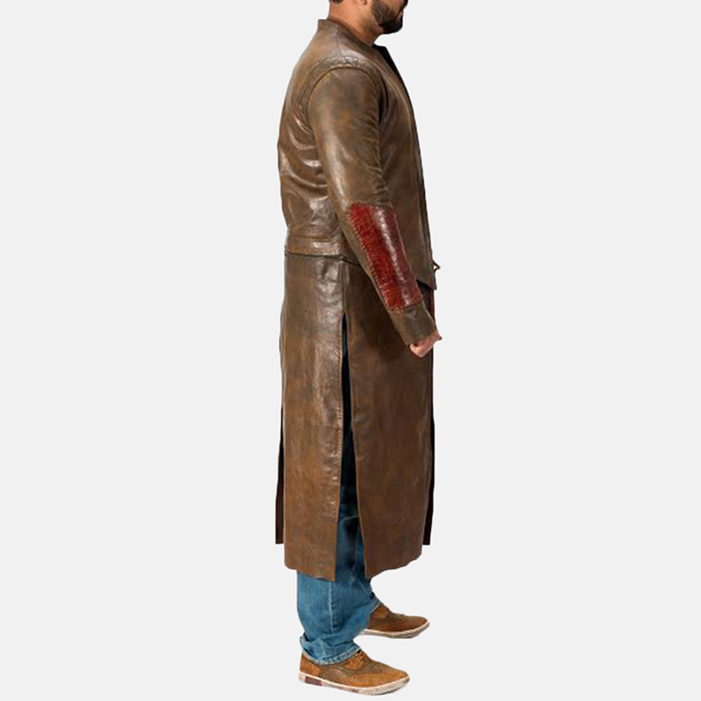 Mens Medieval Brown Leather Coat 6