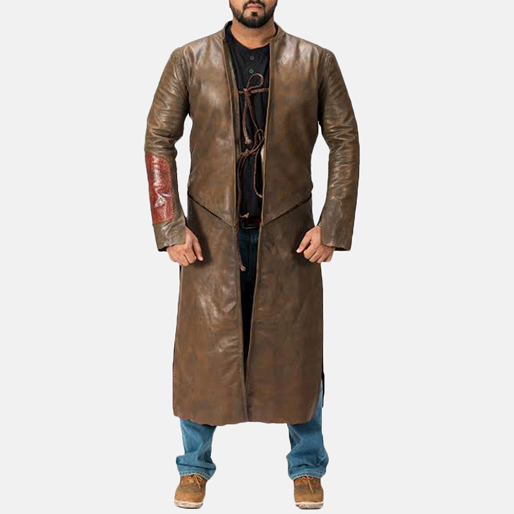 Mens Medieval Brown Leather Coat 1