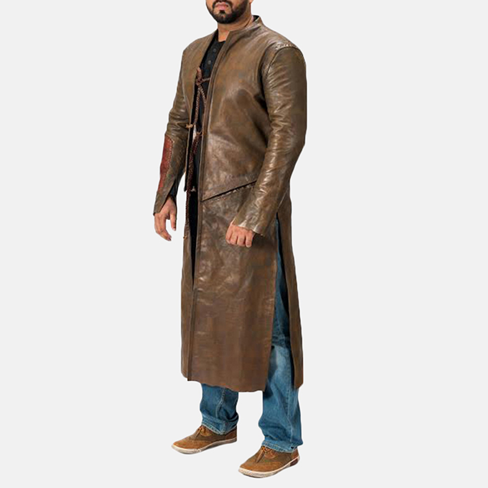 Mens Medieval Brown Leather Coat 2