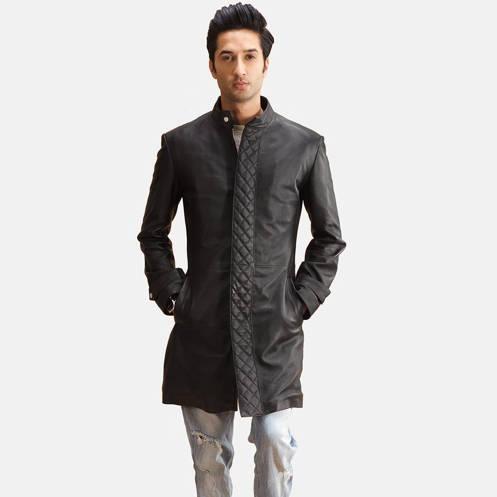 Mens Midlander Quilted Black Leather Coat 1