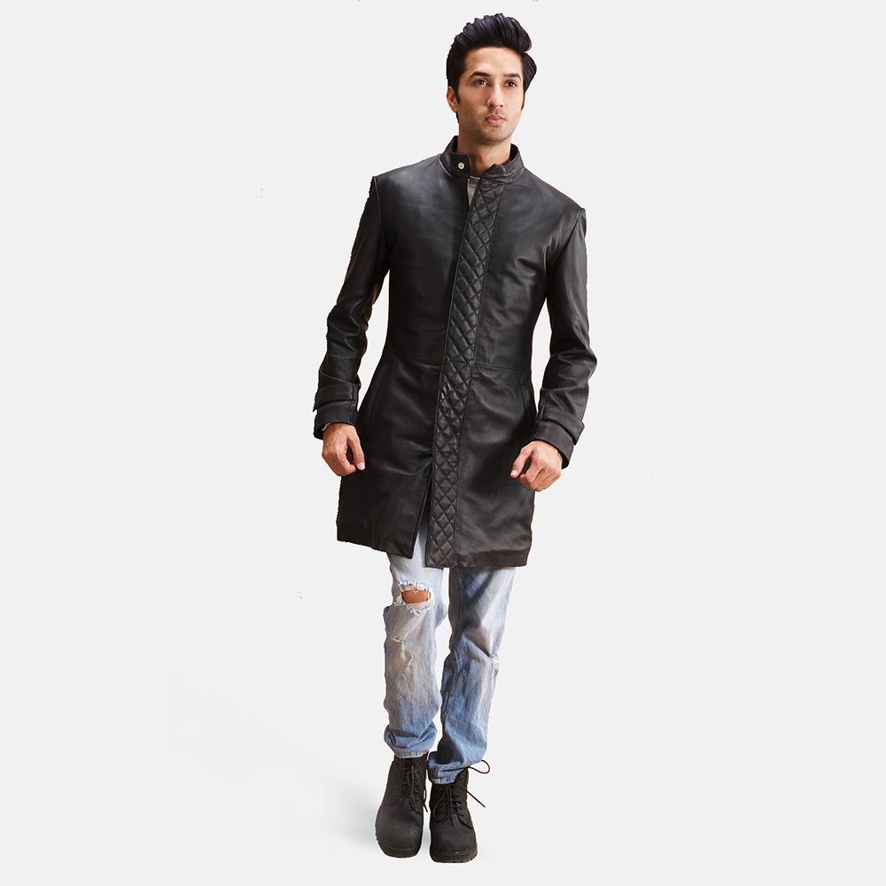 Mens Midlander Quilted Black Leather Coat 2
