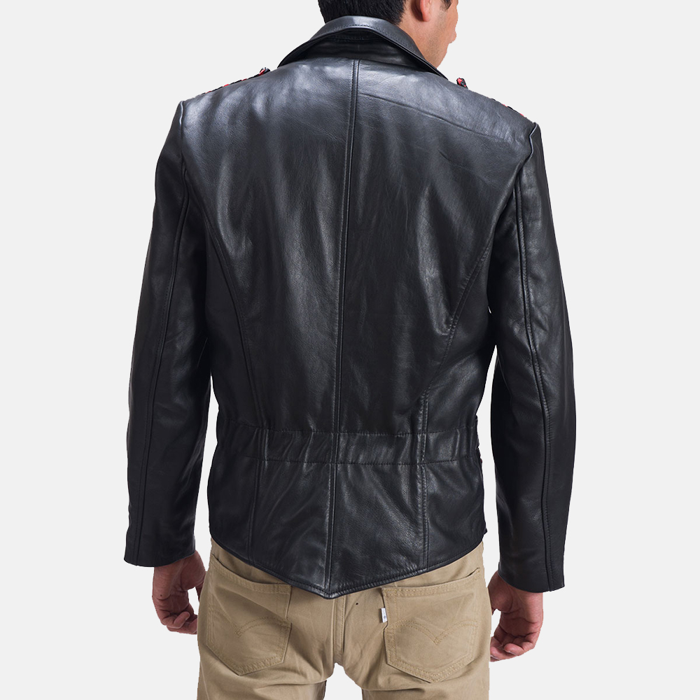 Mens Moda Black Leather Biker Jacket 4