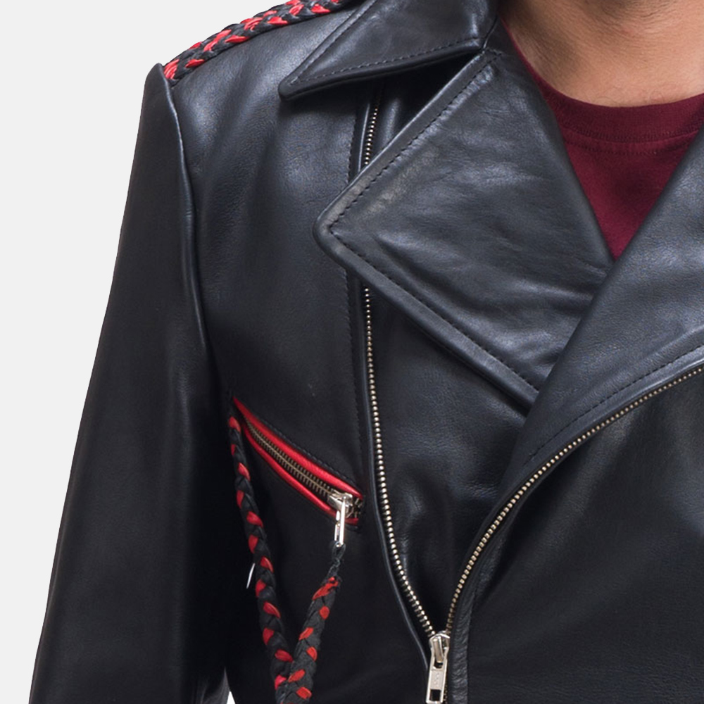 Mens Moda Black Leather Biker Jacket 5
