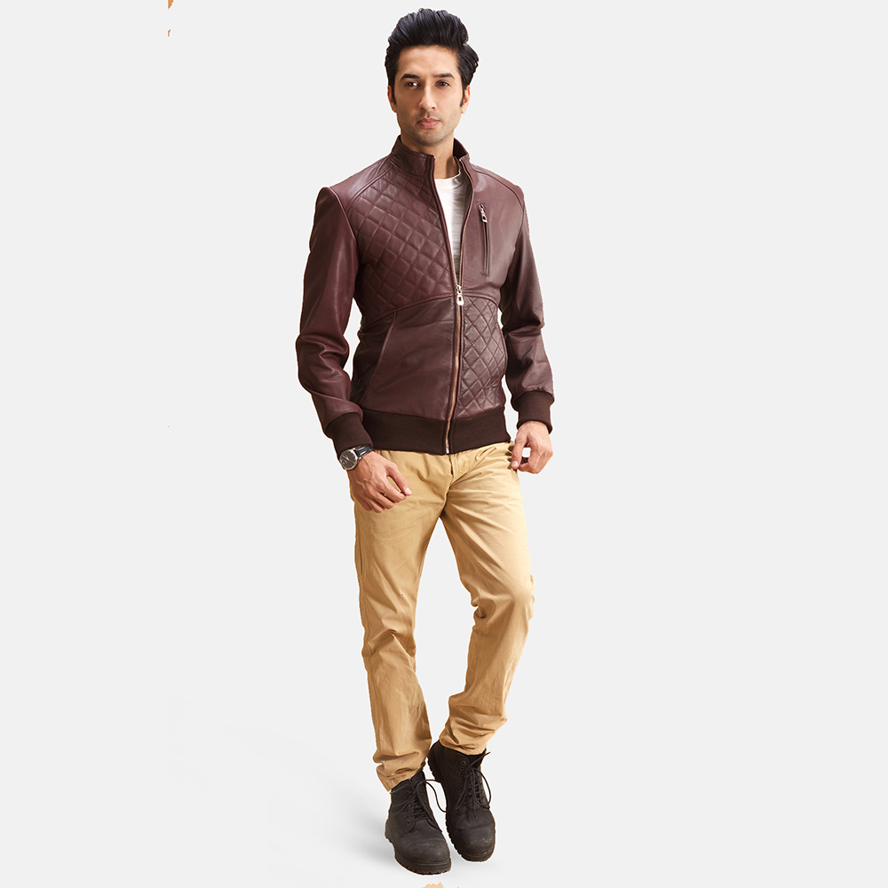 Mens Moda Quilted Maroon Leather Bomber Jacket 2