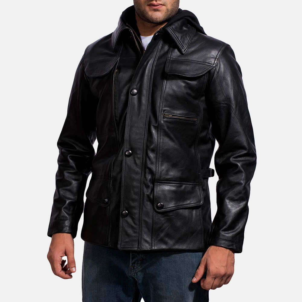 Mens Moulder Hooded Black Leather Jacket 2