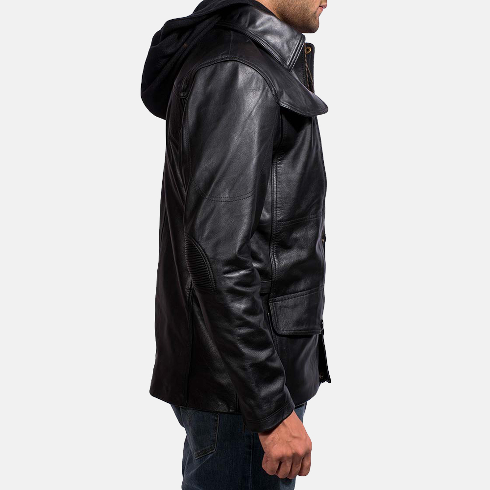 Mens Moulder Hooded Black Leather Jacket 3