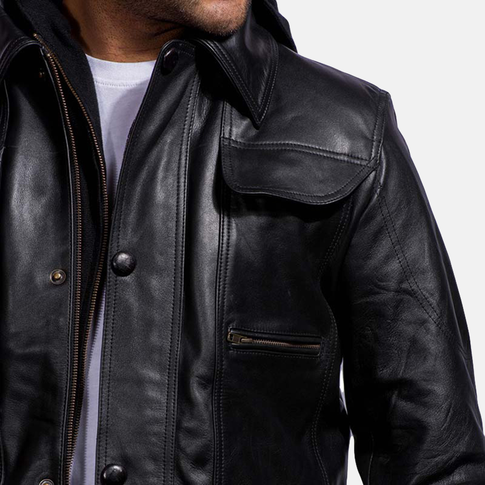 Mens Moulder Hooded Black Leather Jacket 5