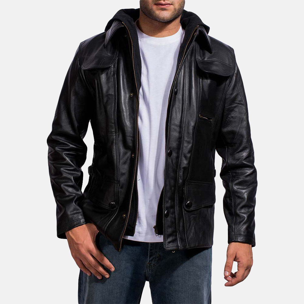 Mens Moulder Hooded Black Leather Jacket 1