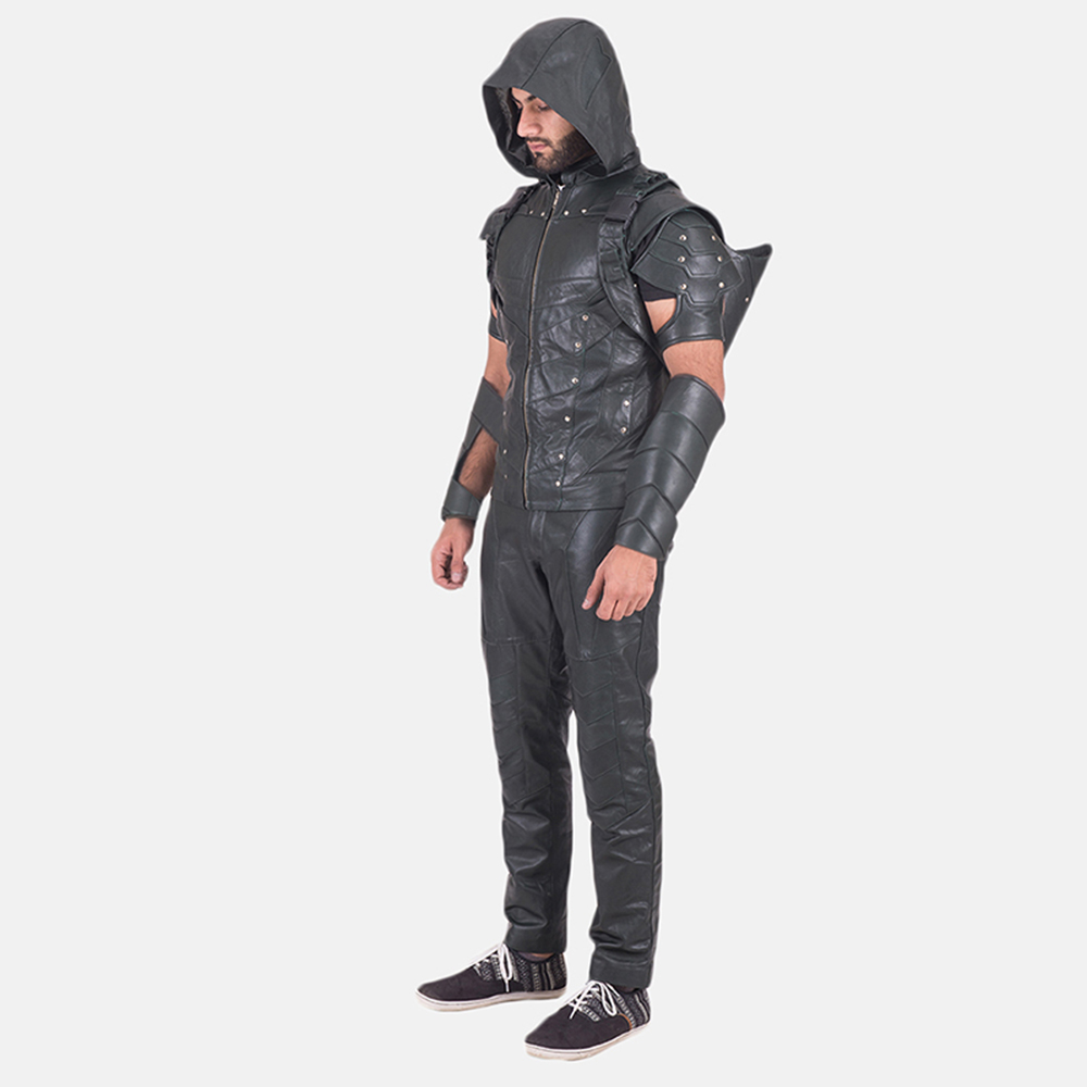 Mens New Green Hood Leather Costume 2
