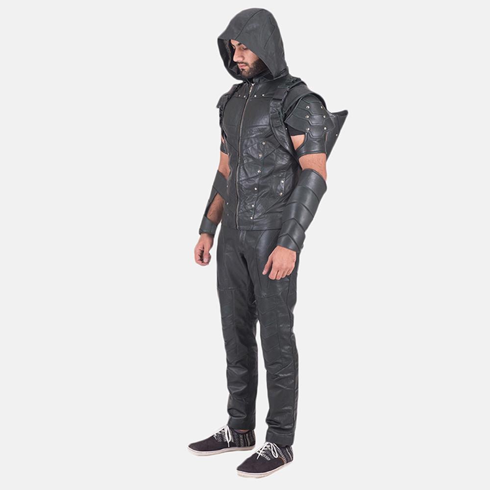 Custom New Green Hood Leather Vest 3