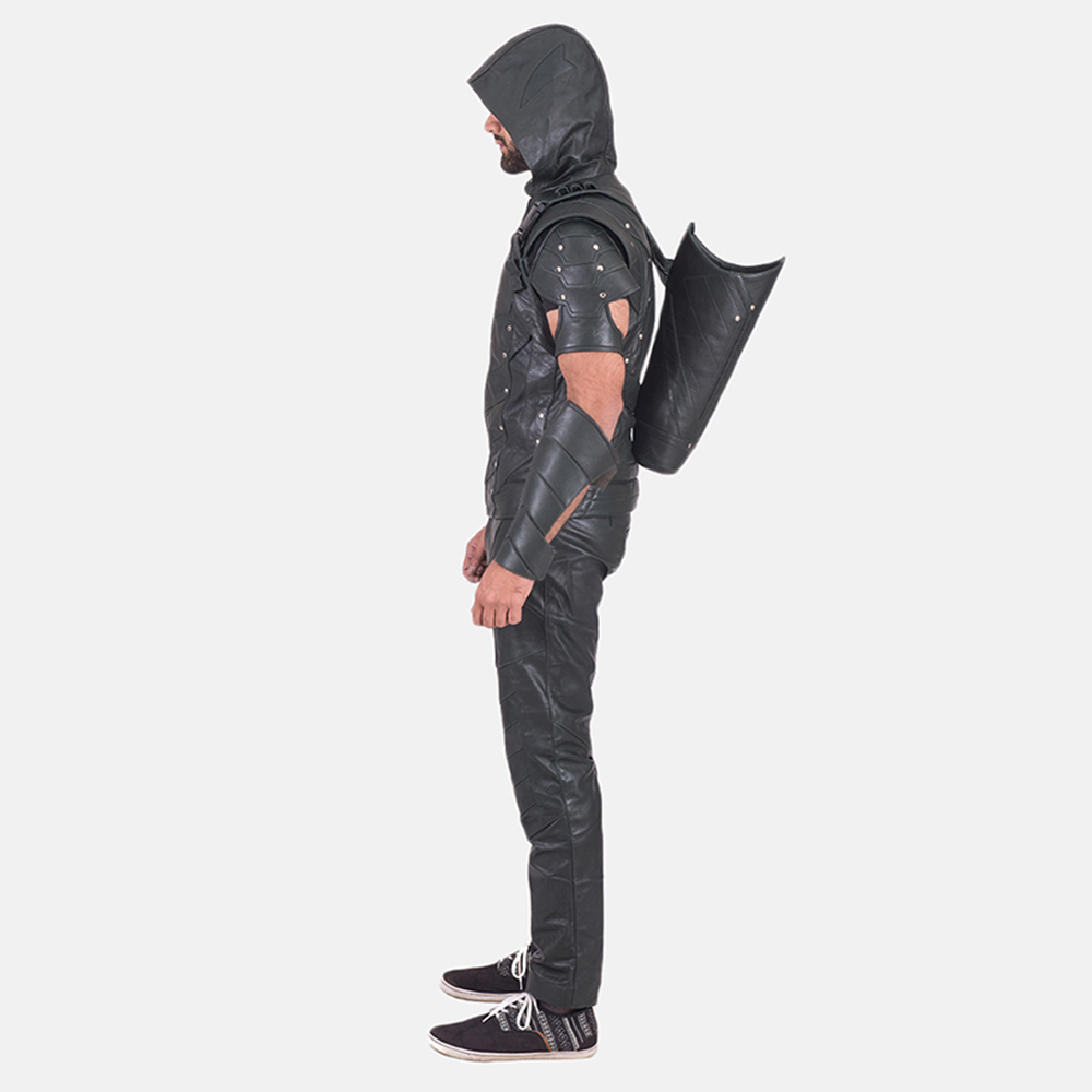 Mens New Green Hood Leather Costume 3
