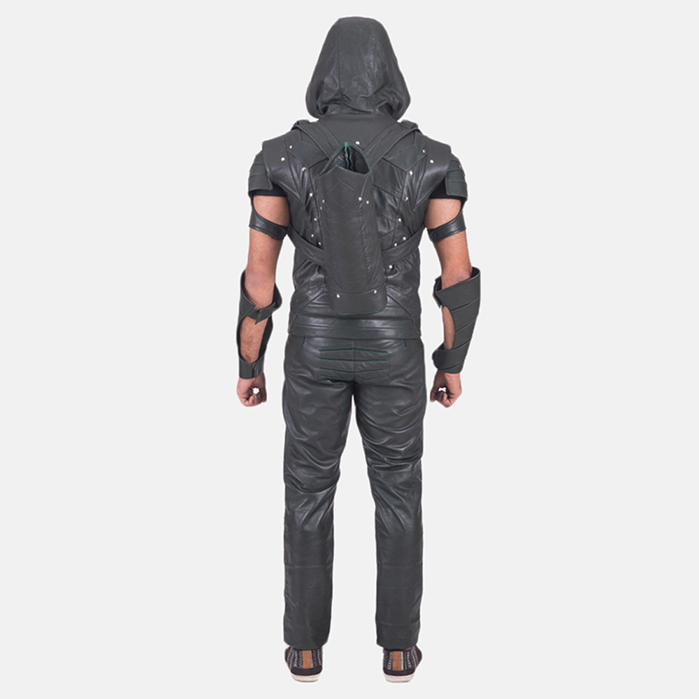 Custom New Green Hood Leather Vest 5