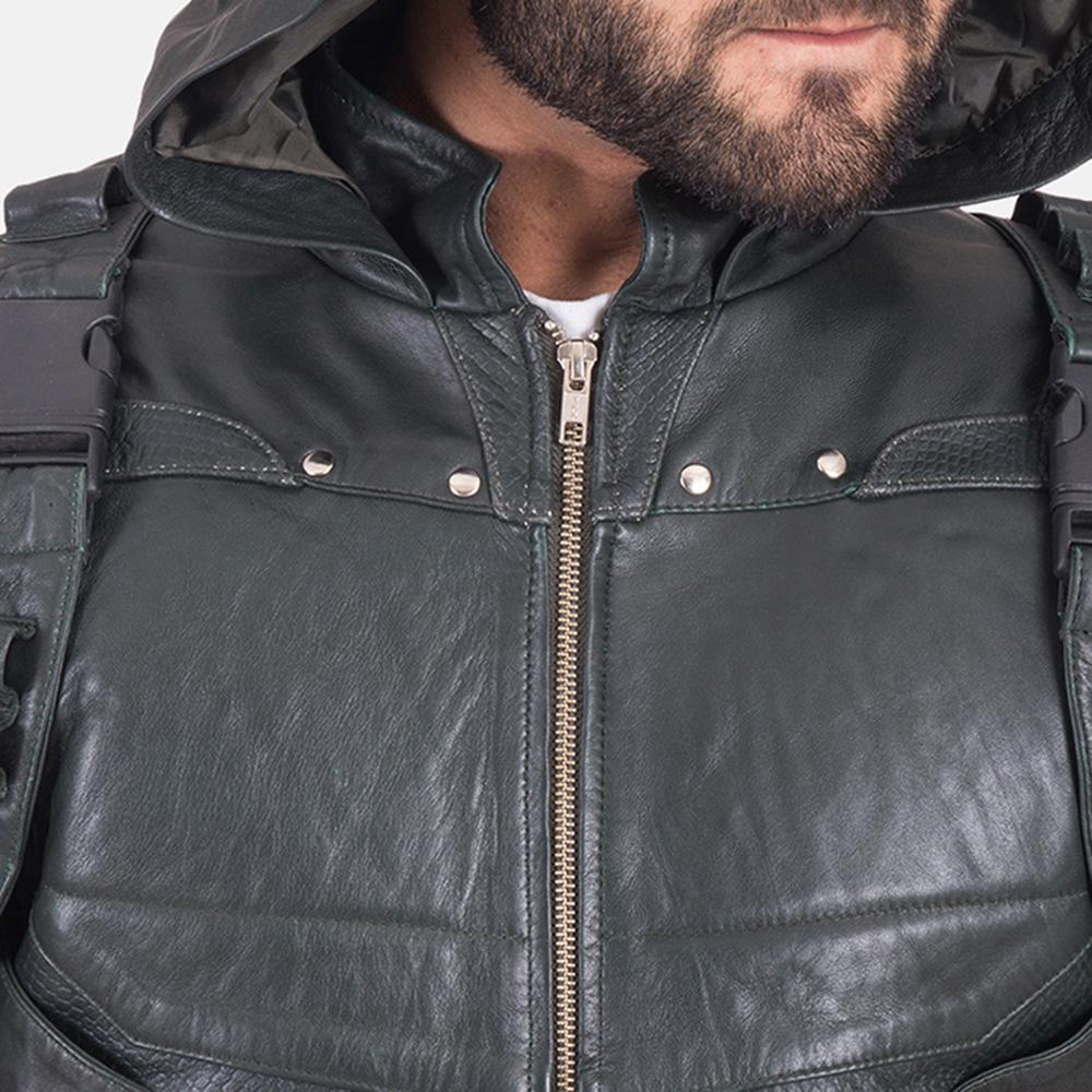 Custom New Green Hood Leather Vest 6