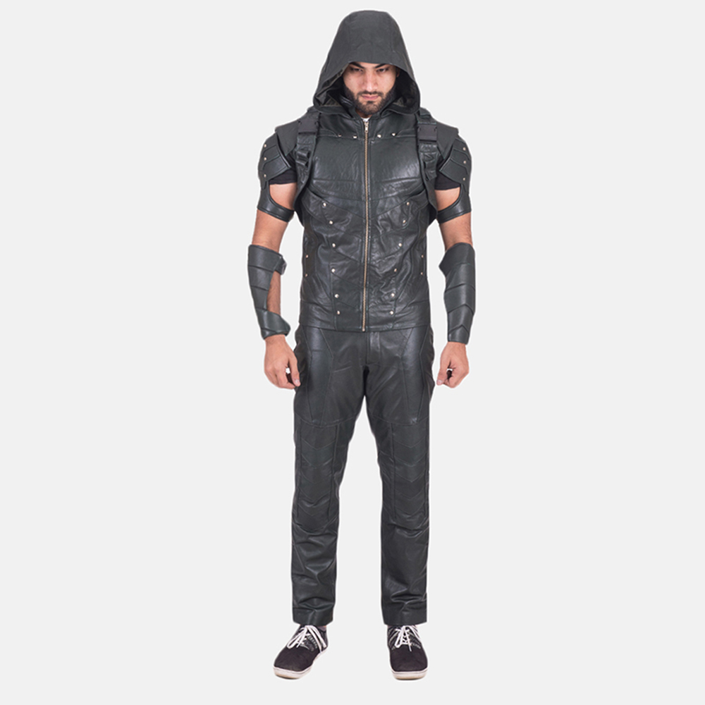 Custom New Green Hood Leather Vest 2