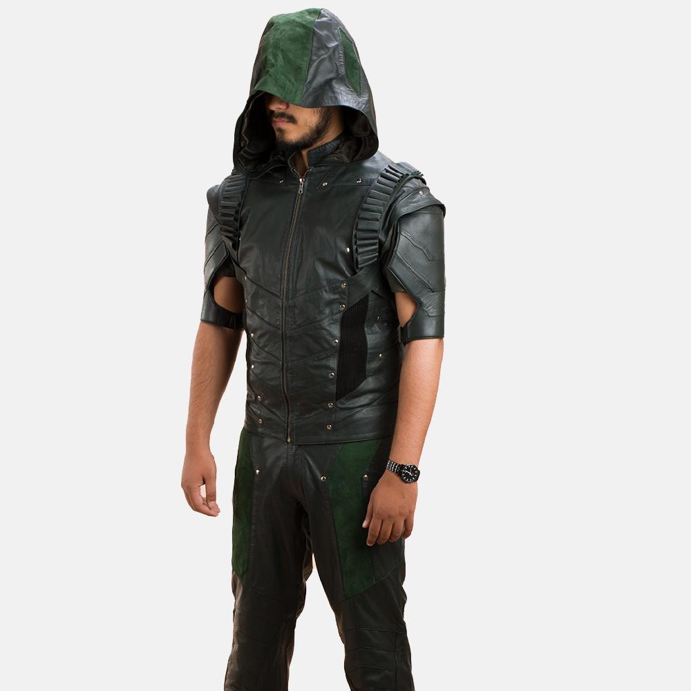 Mens New Green Hood Leather Vest 4