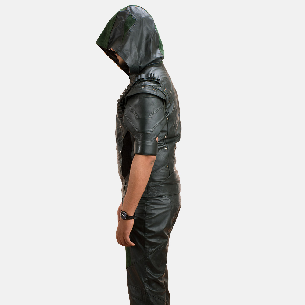 Mens New Green Hood Leather Vest 4