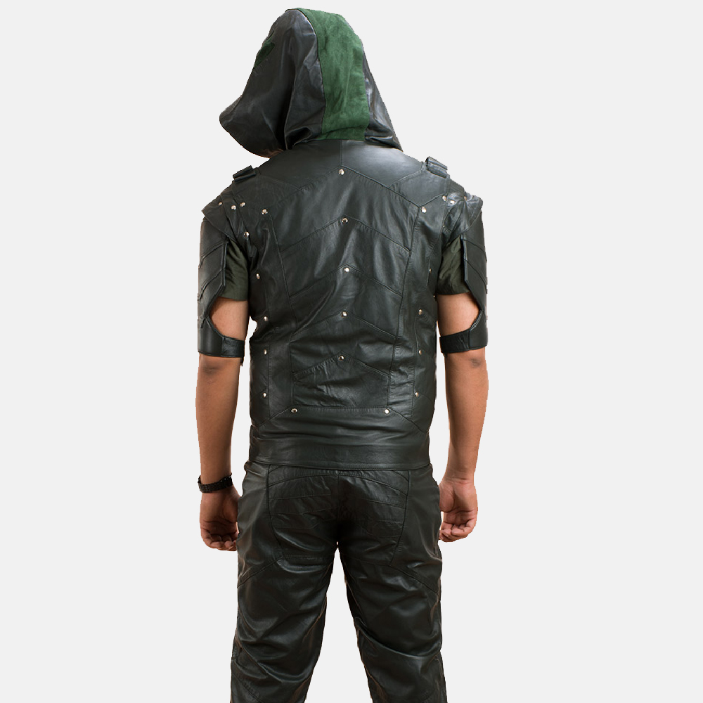 Mens New Green Hood Leather Vest 3