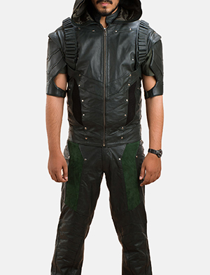 Mens New Green Hood Leather Vest