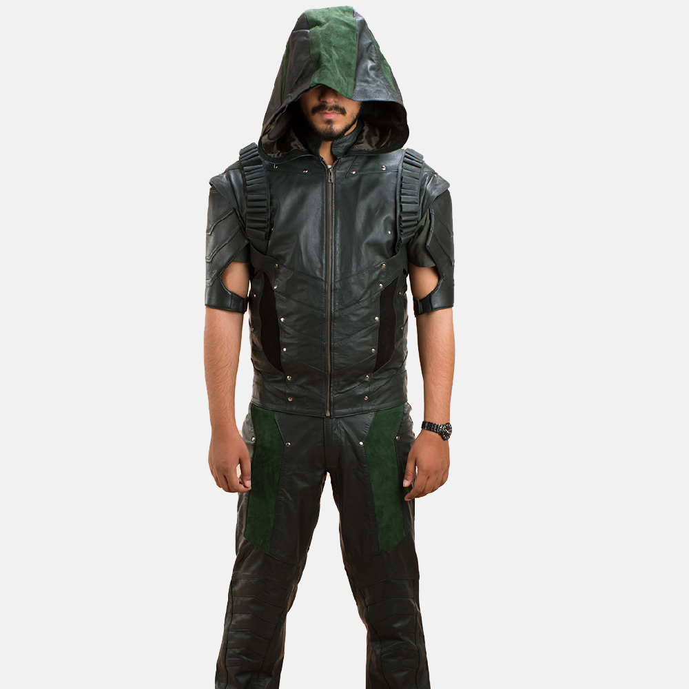 Mens New Green Hood Leather Vest 1