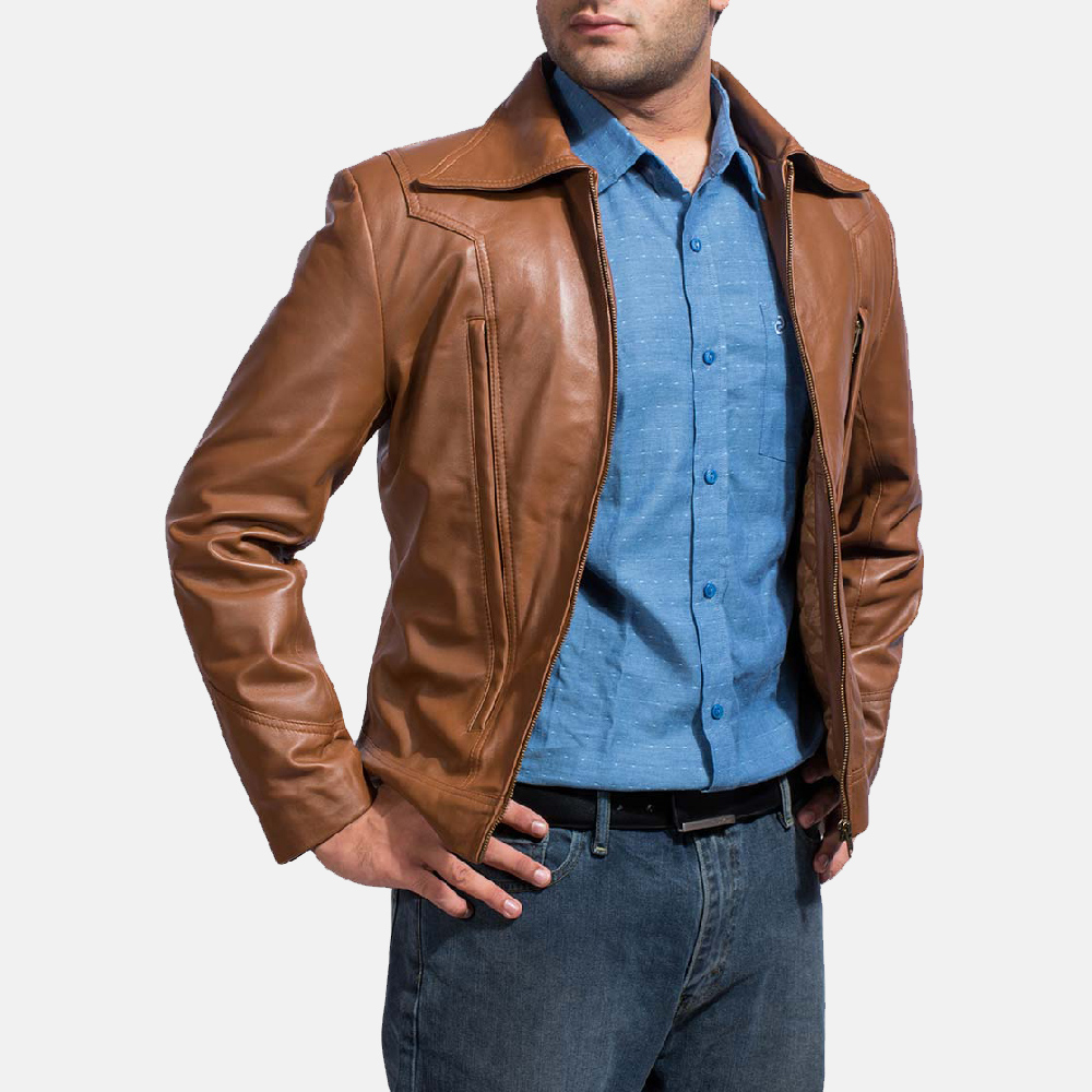 Mens Old School Brown Leather Jacket 2