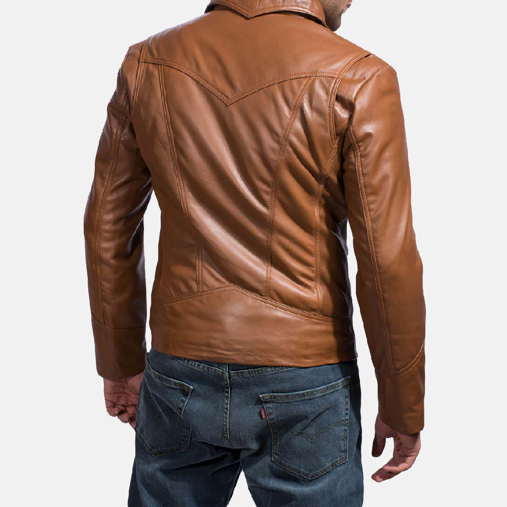 Mens Old School Brown Leather Jacket 5