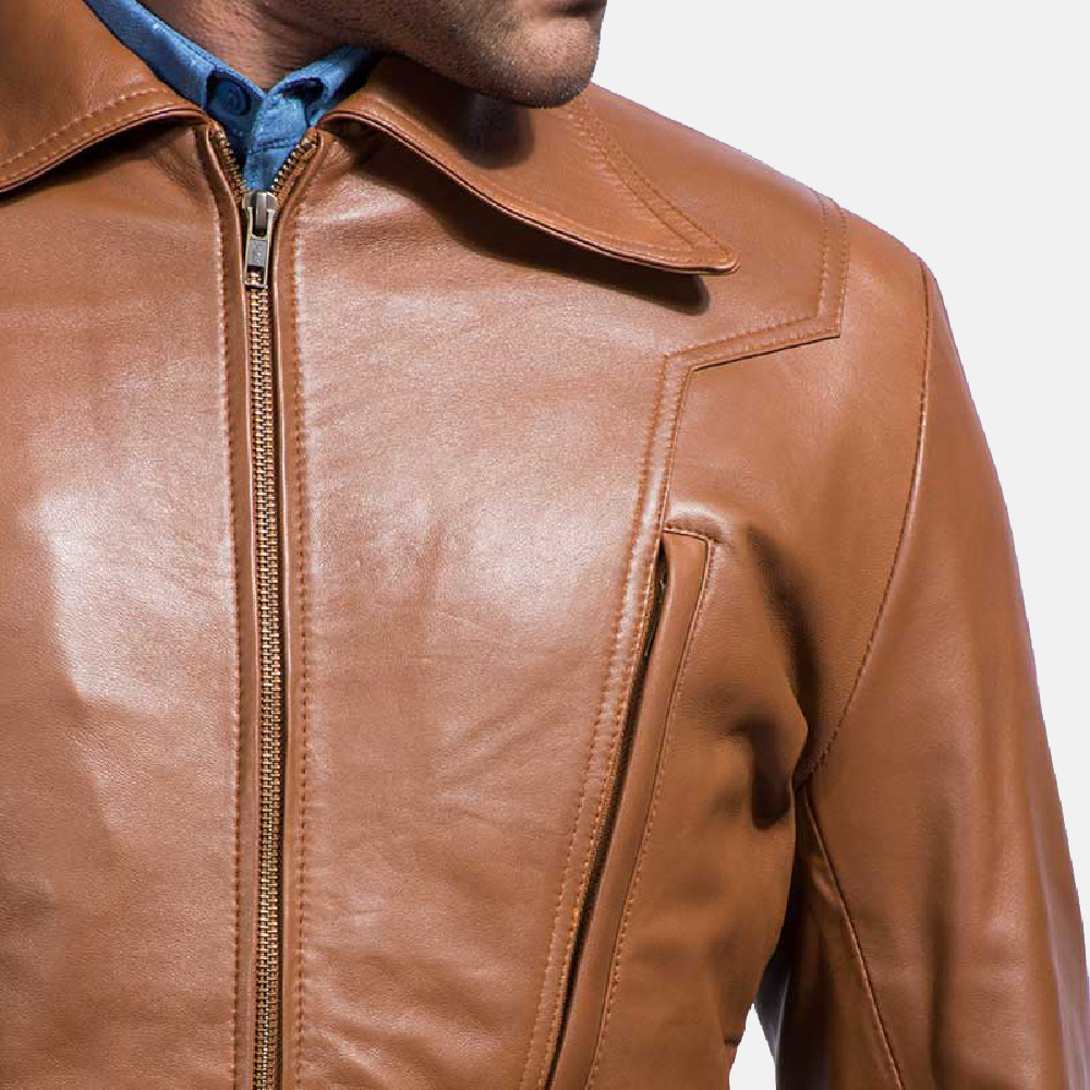 Mens Old School Brown Leather Jacket 3