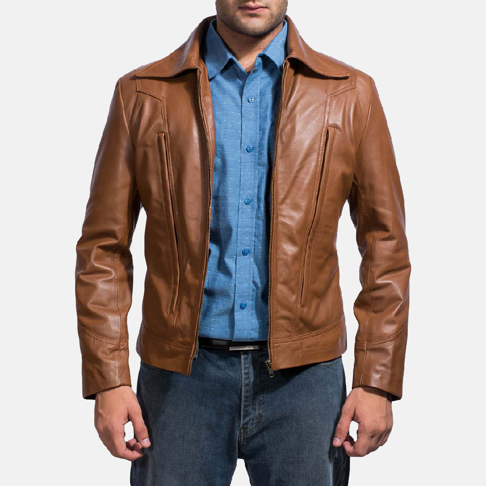 Mens Old School Brown Leather Jacket