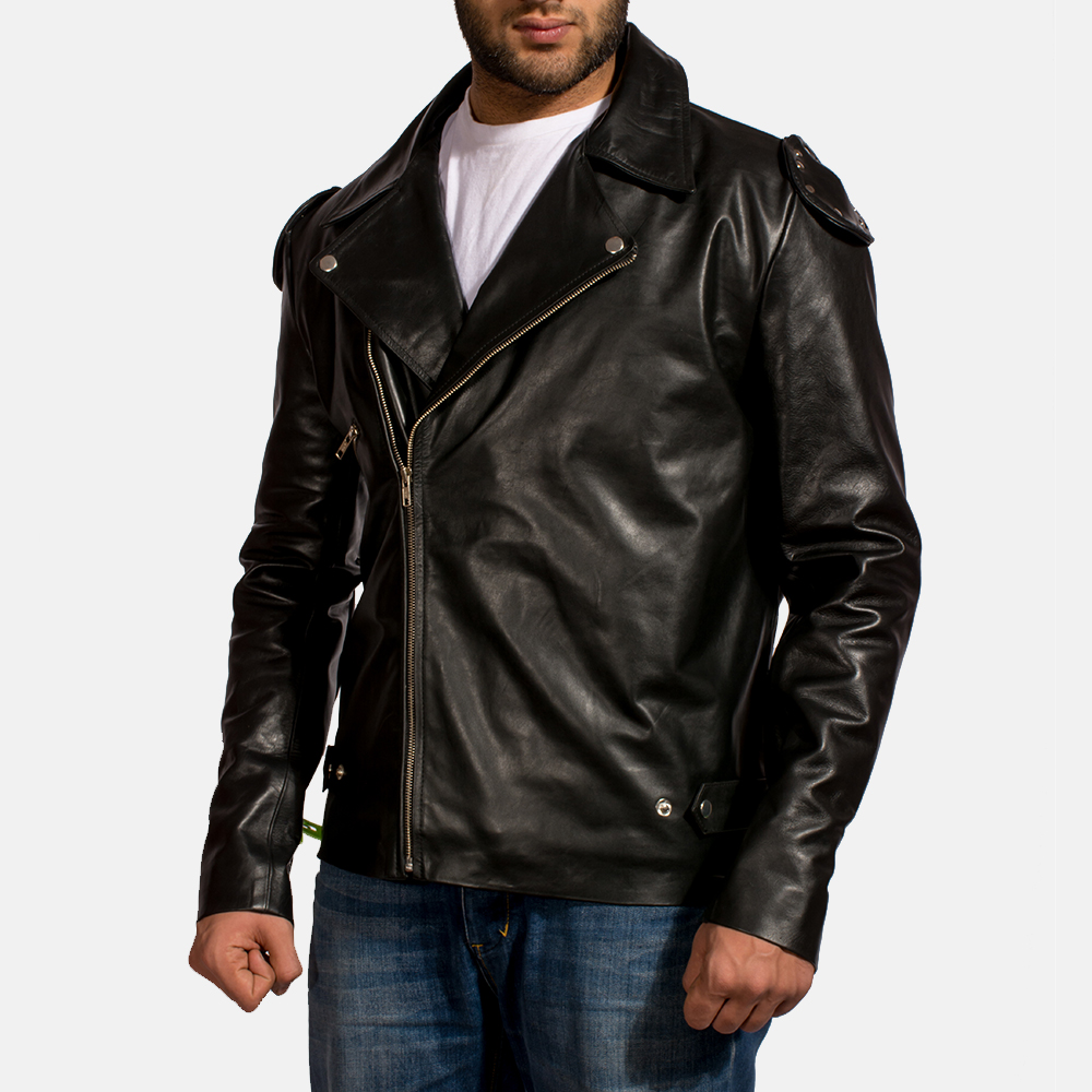 Mens Outlaw Black Leather Biker Jacket 3