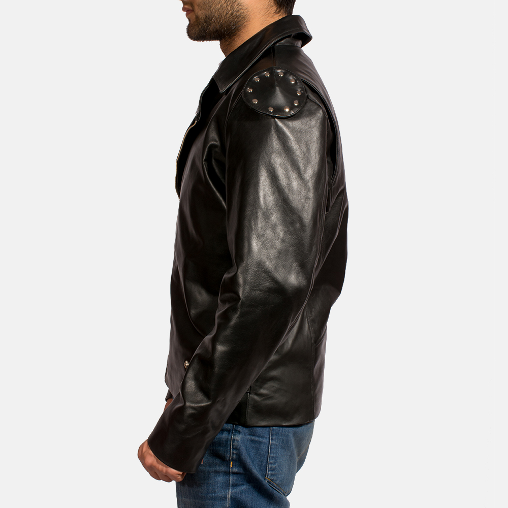 Mens Outlaw Black Leather Biker Jacket 4