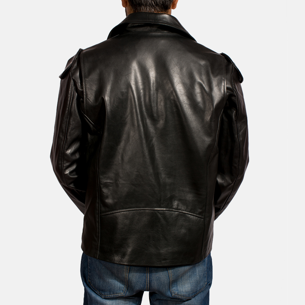 Mens Outlaw Black Leather Biker Jacket 5