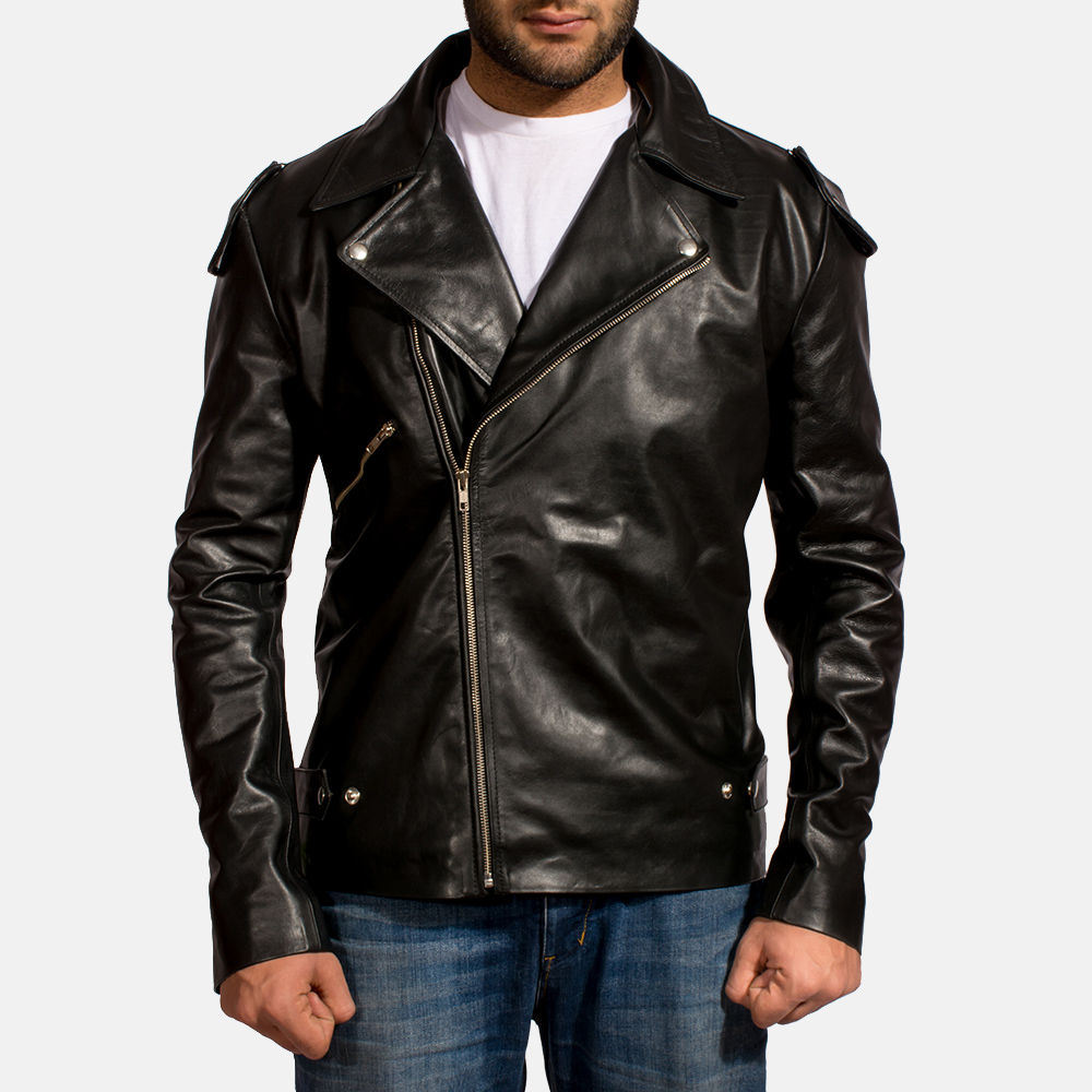 Mens Outlaw Black Leather Biker Jacket 1