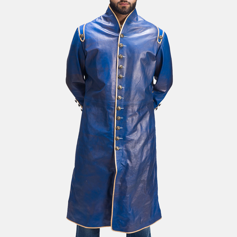 Mens Percy Blue Leather Coat 2