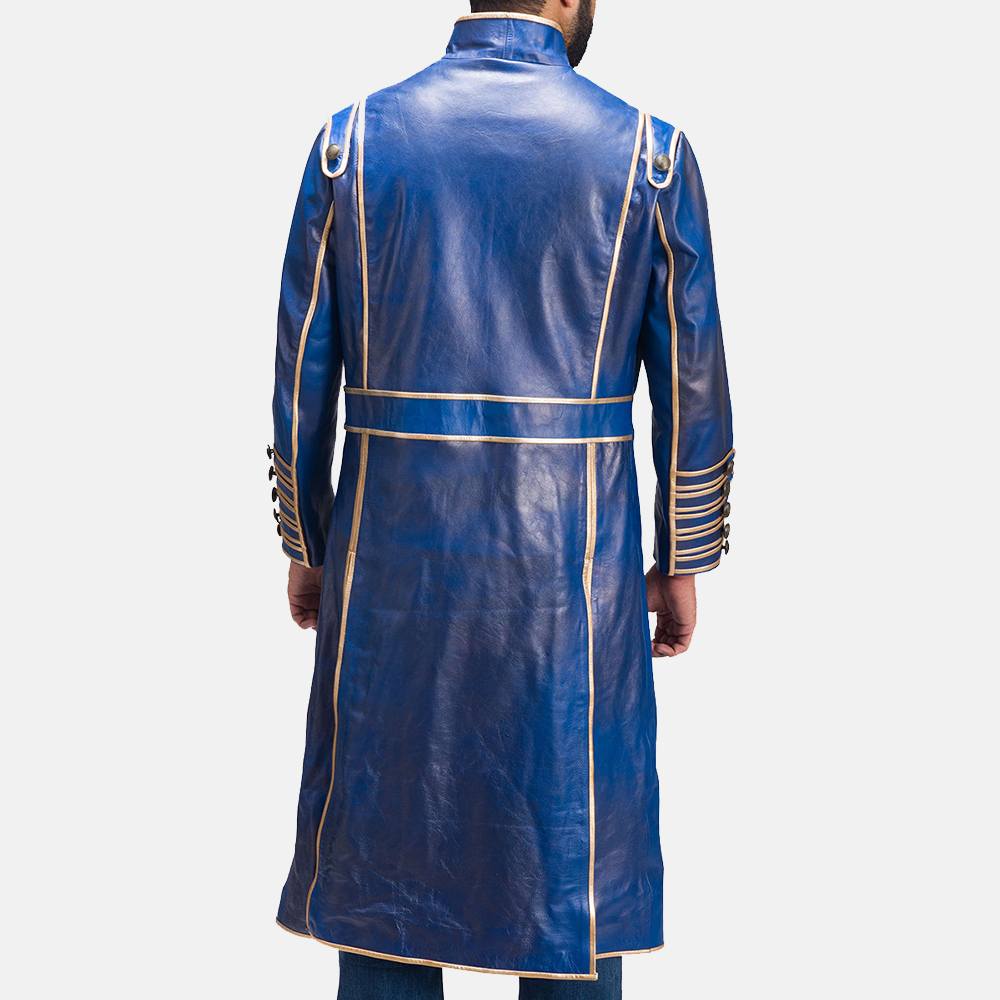Mens Percy Blue Leather Coat 1