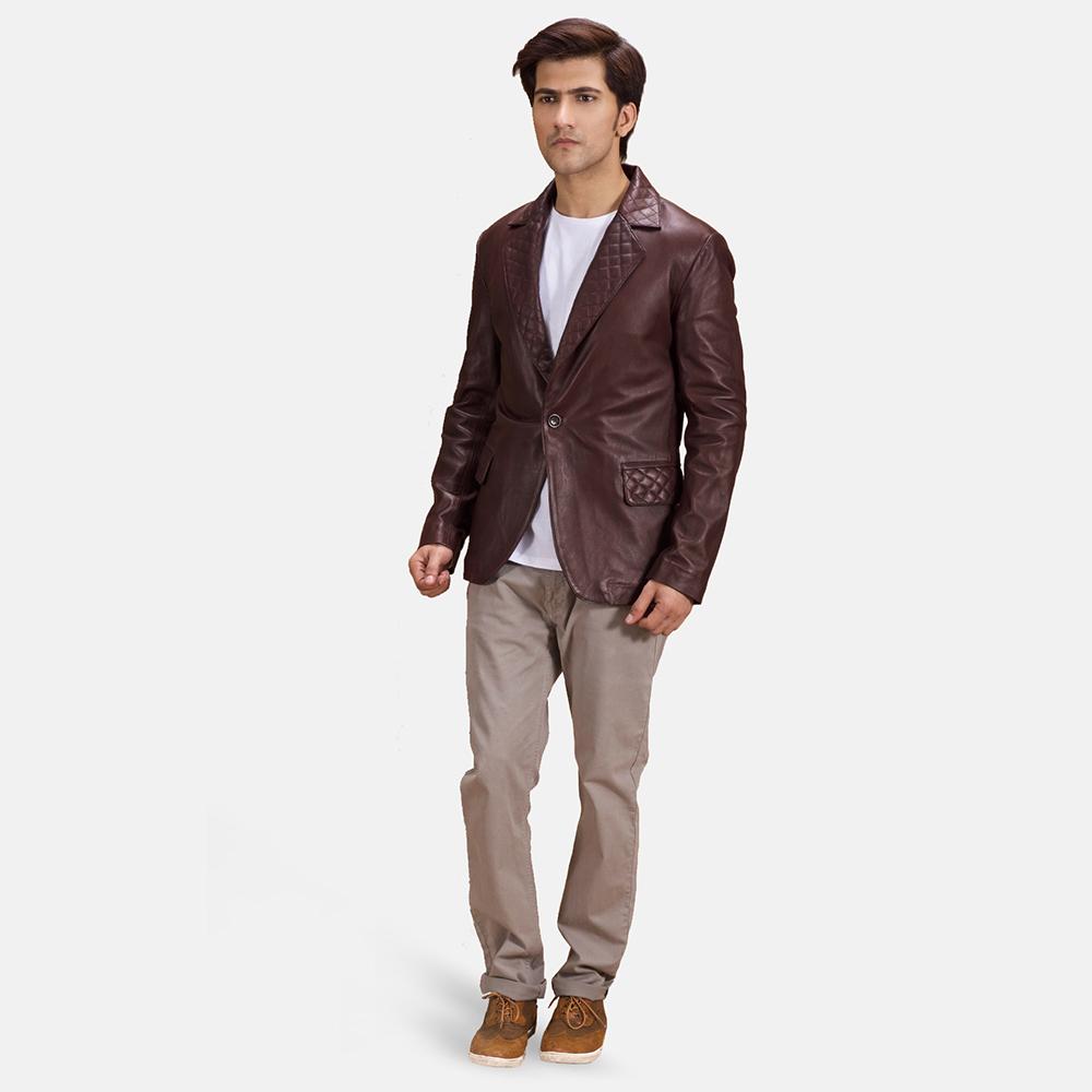 Mens Radaron Quilted Maroon Leather Blazer 1