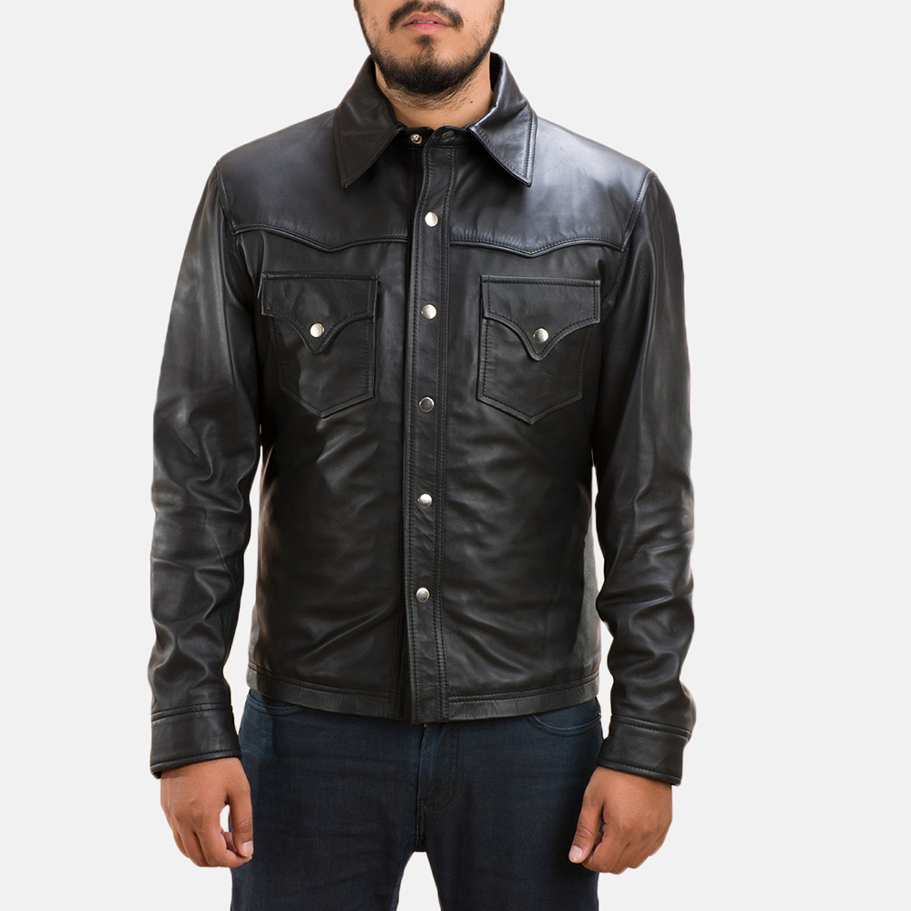 Mens Ranchson Black Leather Shirt 2