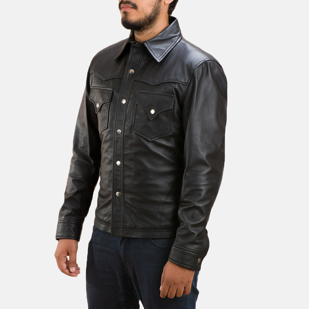 Mens Ranchson Black Leather Shirt 3